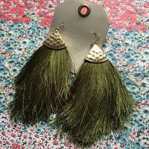 NWT Anthropologie green tassels earrings